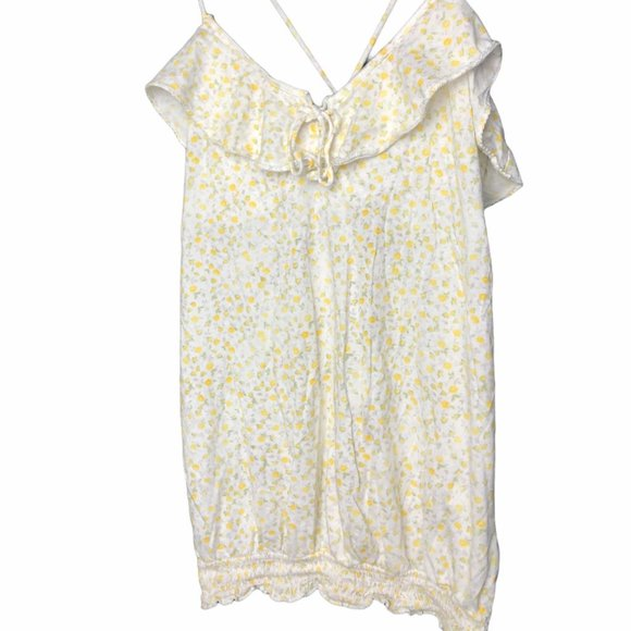 🏖Vintage American Eagle Dainty Yellow Floral Tank